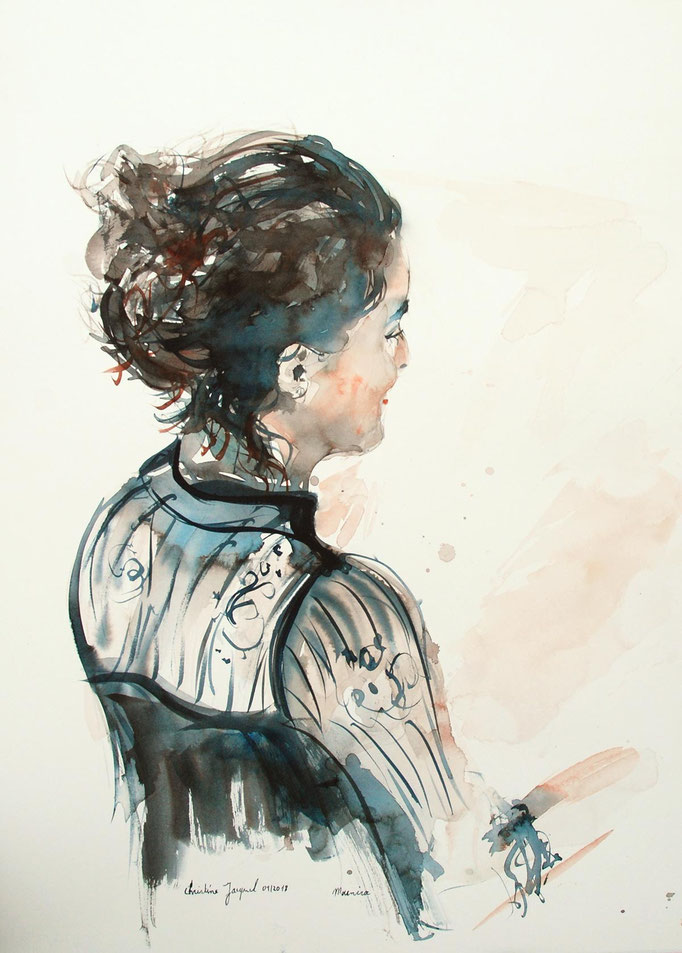 Aquarelle originale d'un portrait de femme avec un chignon