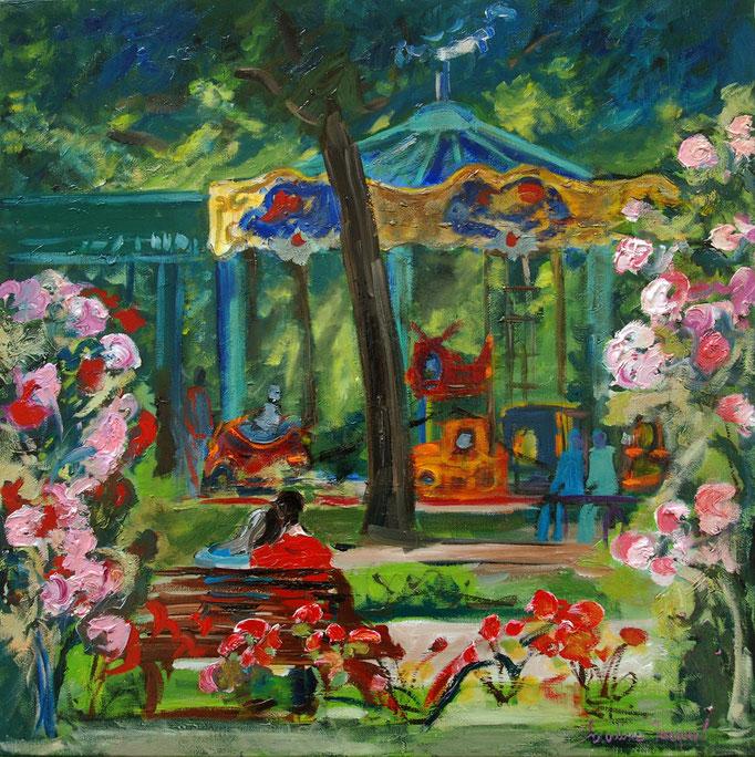 peinture à l'huile du manége à la pépinière 60cm x60cm