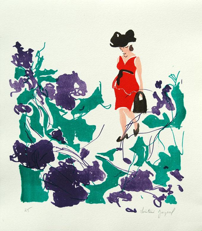 Lithographie originale d'une femme en rouge dans les fleurs