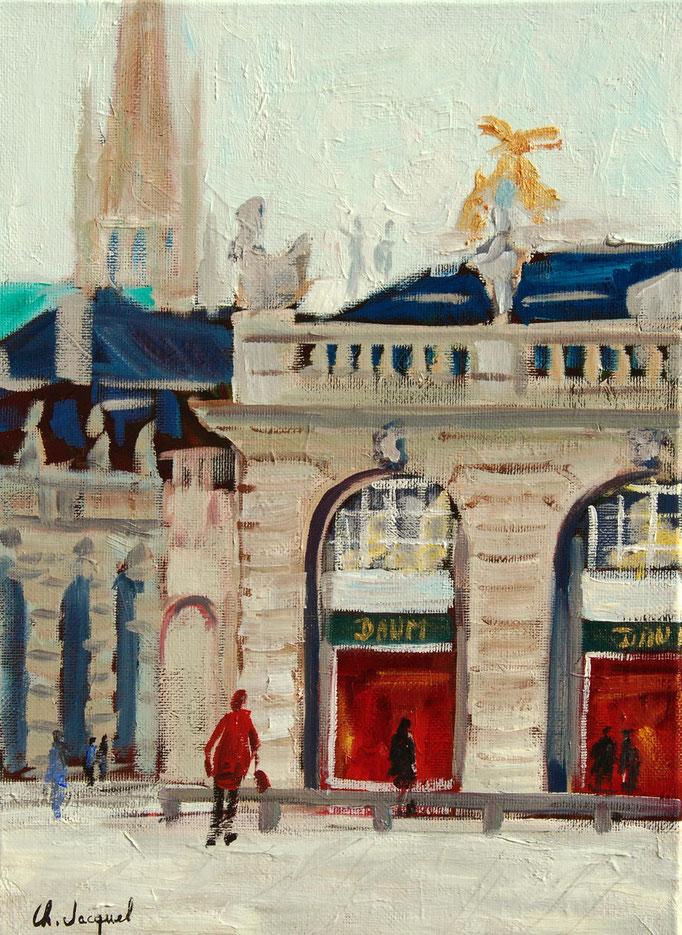 Peinture à l'huile place Stanislas à Nancy33cm x 24cm