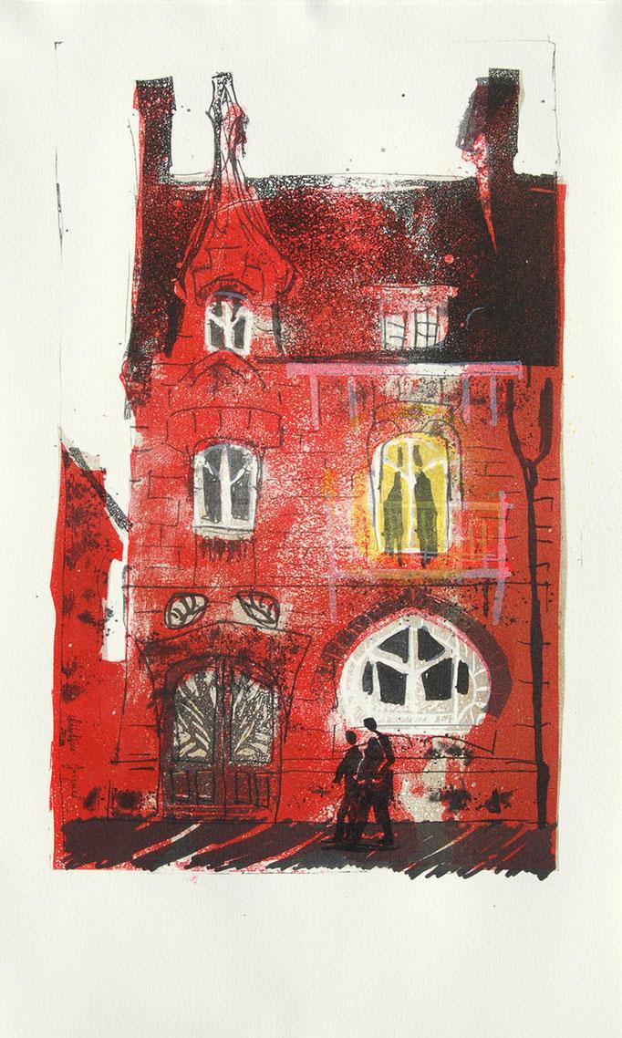 Lithographie originale d'une maison Art Nouveau
