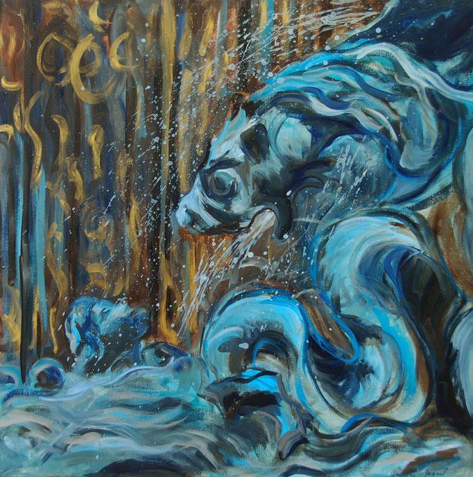 Peinture à l'huile d'un détailde la fontaine Amphitrite 100cm x100cm