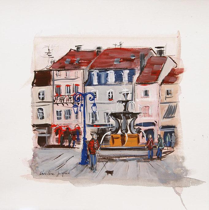 Gouache et aquarelle d'une ville en france