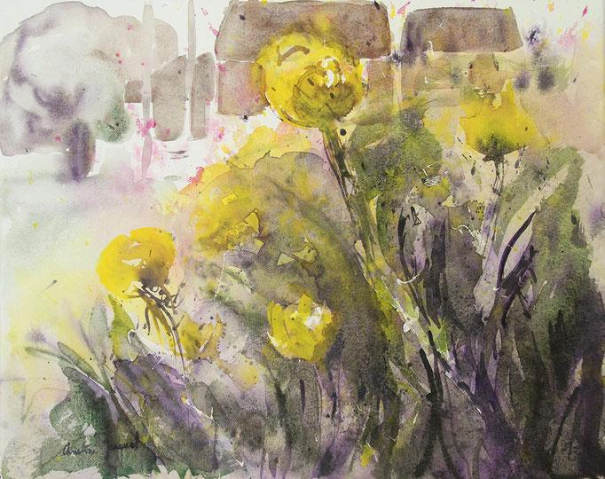 Aquarelle originale de fleurs jaunes