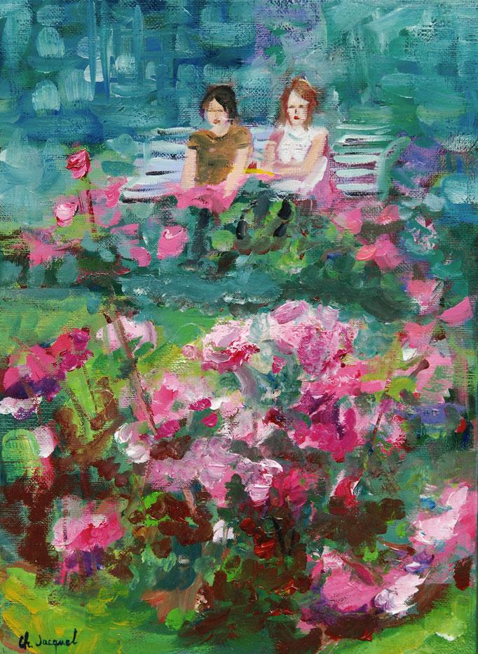 Peinture acrylique de 2 femmes à la roseraie 33cm x 24cm