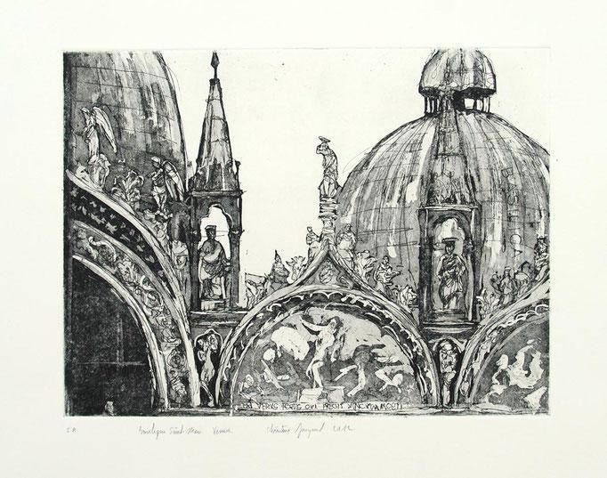 Estampe originale Détail de la basilique Saint Marc à Venise