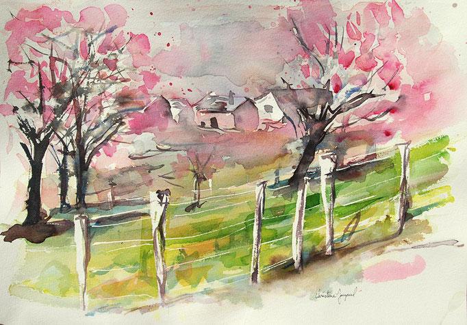 Aquarelle originale de cerisiers en fleurs