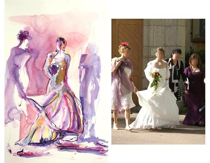 Aquarelle originale d'une mariée avec ses demoiselles d'honneur