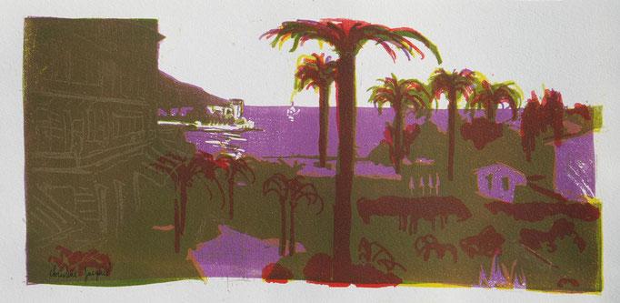 Lithographie d'un bord de mer avec des palmiers