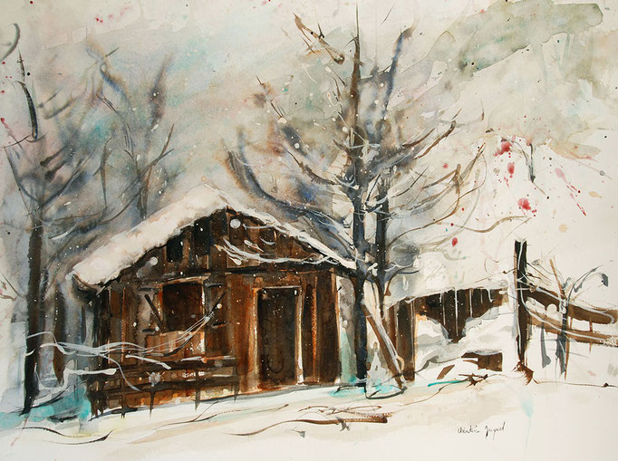 Chalet sous la neige à l'aquarelle