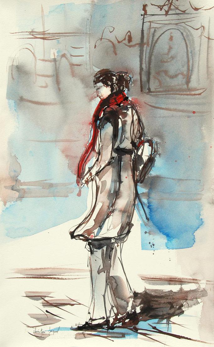 Aquarelle originale d'une femme en hiver