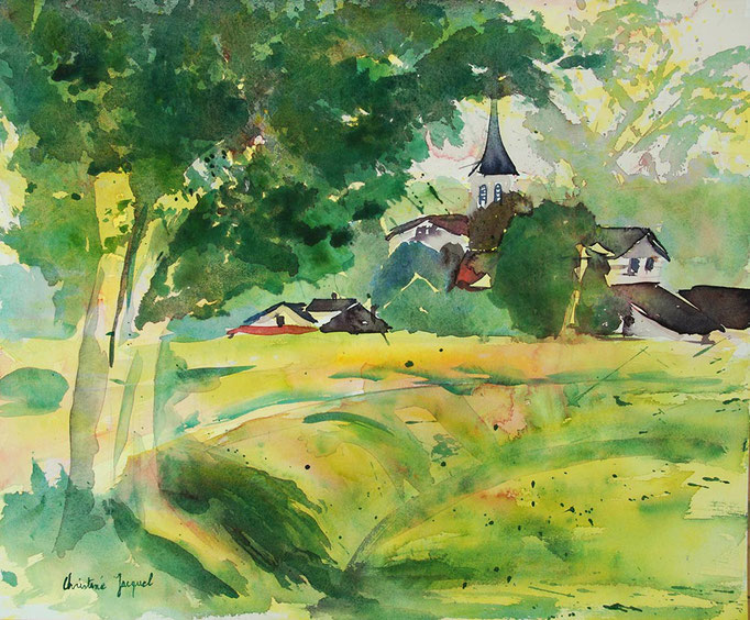 Aquarelle originale d'un village Lorrain