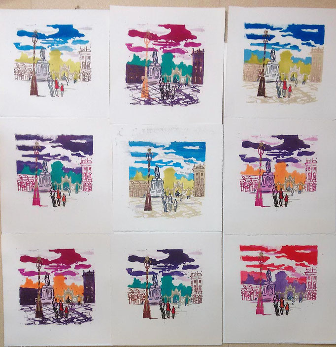 9 lithographie originales de couleurs varièes sur la Place Stanislas