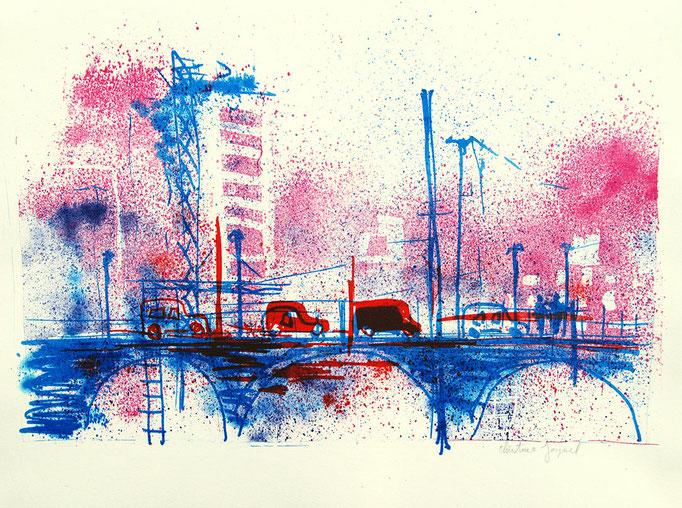 Lithographie originale d'un pont