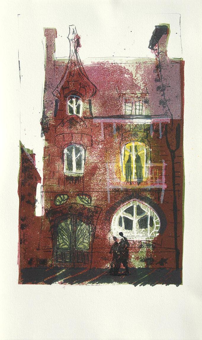 Lithographie originale maison Architecture Art Nouveau