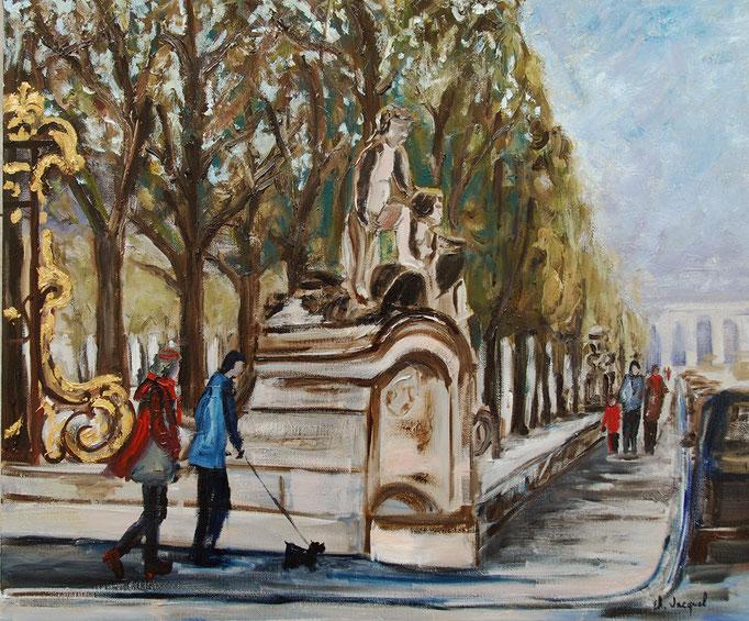 Peinture à l'huile de la place Carrière à Nancy 54cm x 65cm