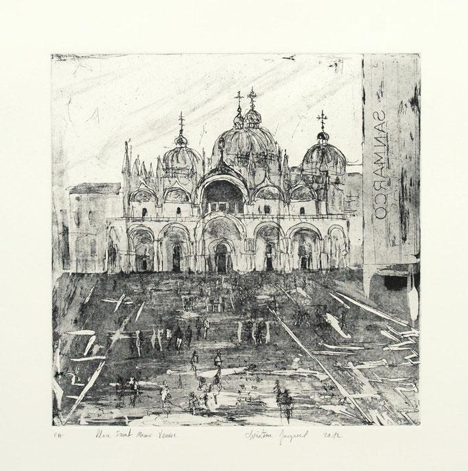 Estampe originale Place Saint Marc à Venise
