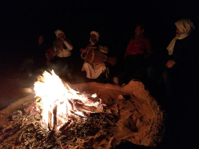 feu de camp aux dunes de Chegaga