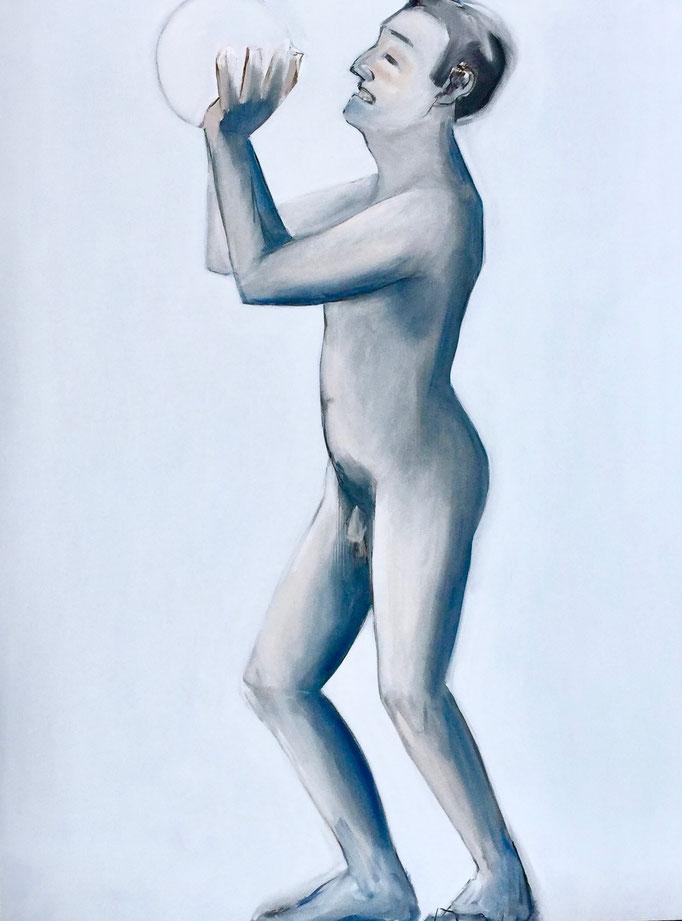 The Image Of Man III, 2018  Kohle & Öl auf Leinwand,  160 x 120 cm