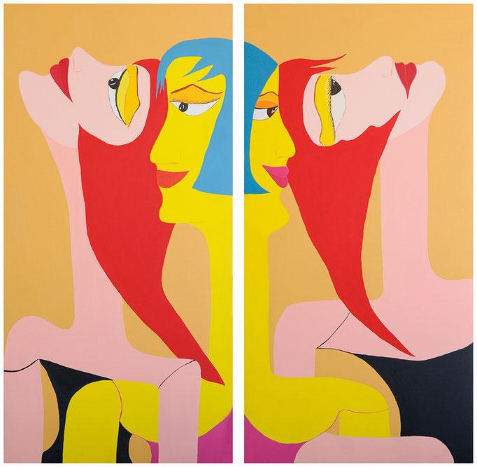 Diptyque - Acrylique sur toile. 120x120cm. Vendu - Sold