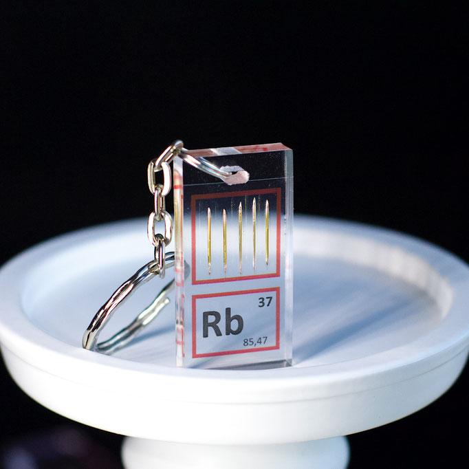 rubidio portachiavi, portachiavi di elementi, portachiavi con elementi, elementi della tavola periodica, elementi chimici, regali scientifici, gadget scientifici, portachiavi scientifici, portachiavi di metallo