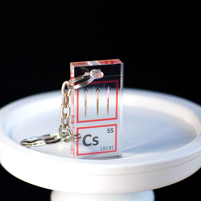 cesio portachiavi, portachiavi di elementi, portachiavi con elementi, elementi della tavola periodica, elementi chimici, regali scientifici, gadget scientifici, portachiavi scientifici, portachiavi di metallo