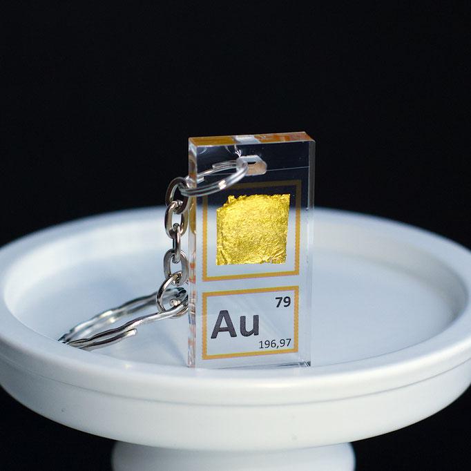 oro portachiavi, portachiavi di elementi, portachiavi con elementi, elementi della tavola periodica, elementi chimici, regali scientifici, gadget scientifici, portachiavi scientifici, portachiavi di metallo