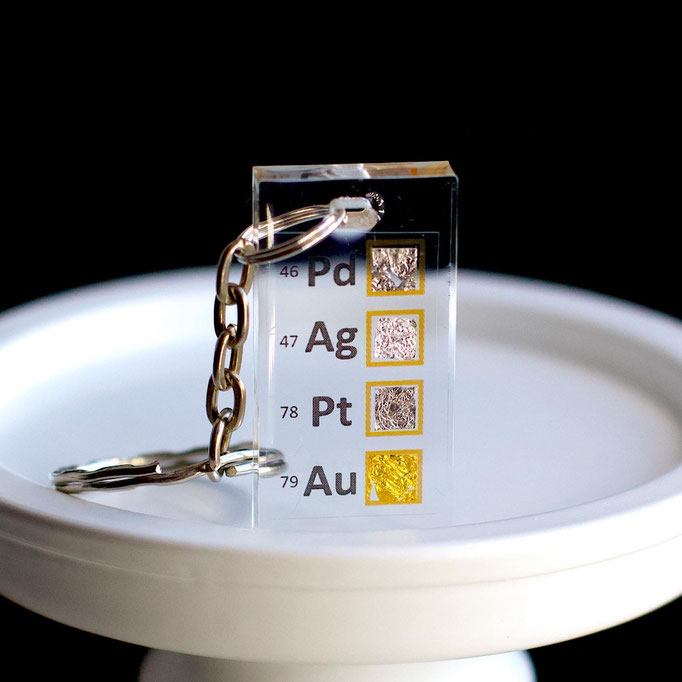 metalli nobili portachiavi, portachiavi di elementi, portachiavi con elementi, elementi della tavola periodica, elementi chimici, regali scientifici, gadget scientifici, portachiavi scientifici, portachiavi di metallo