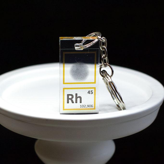 rodio portachiavi, portachiavi di elementi, portachiavi con elementi, elementi della tavola periodica, elementi chimici, regali scientifici, gadget scientifici, portachiavi scientifici, portachiavi di metallo