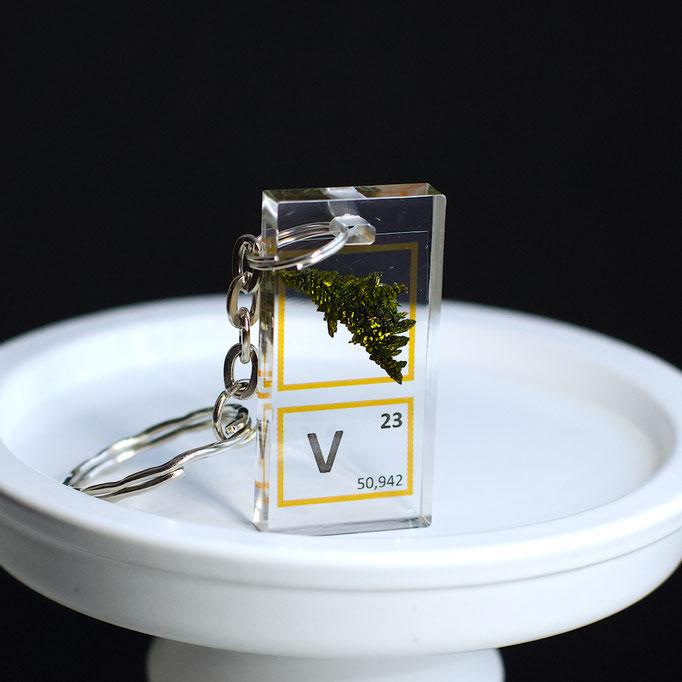 vanadio cristallo portachiavi, portachiavi di elementi, portachiavi con elementi, elementi della tavola periodica, elementi chimici, regali scientifici, gadget scientifici, portachiavi scientifici, portachiavi di metallo