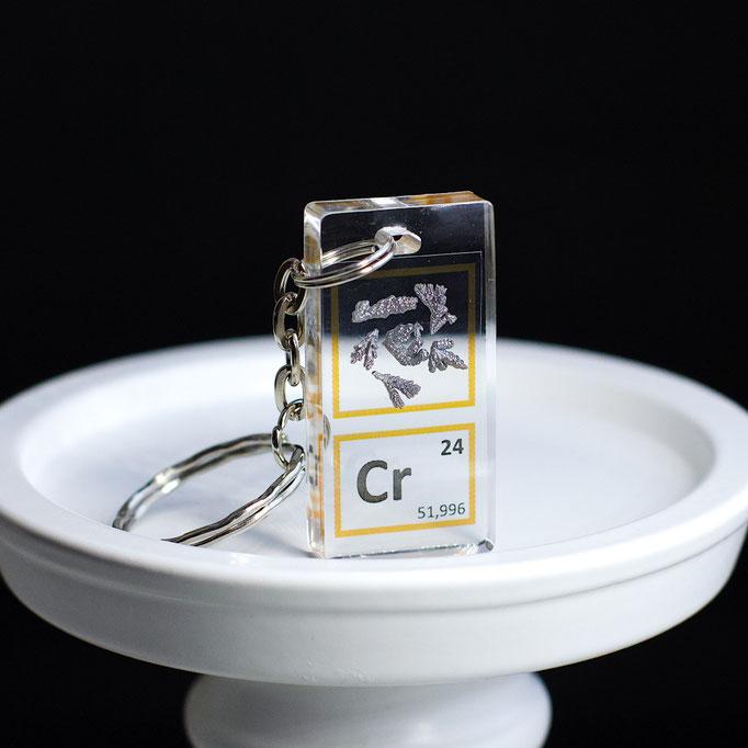 cromo metallico portachiavi, portachiavi di elementi, portachiavi con elementi, elementi della tavola periodica, elementi chimici, regali scientifici, gadget scientifici, portachiavi scientifici, portachiavi di metallo