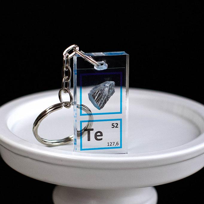 tellurio metallico portachiavi, portachiavi di elementi, portachiavi con elementi, elementi della tavola periodica, elementi chimici, regali scientifici, gadget scientifici, portachiavi scientifici, portachiavi di metallo