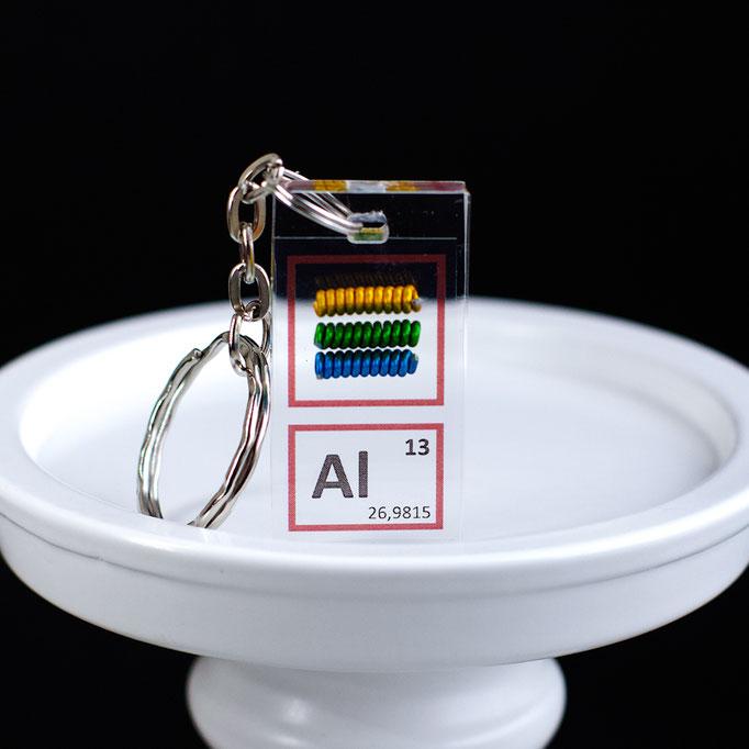 alluminio metallico portachiavi, portachiavi di elementi, portachiavi con elementi, elementi della tavola periodica, elementi chimici, regali scientifici, gadget scientifici, portachiavi scientifici, portachiavi di metallo