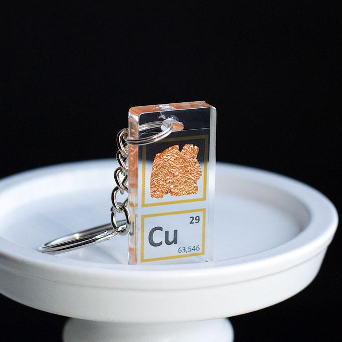 rame foglio portachiavi, portachiavi di elementi, portachiavi con elementi, elementi della tavola periodica, elementi chimici, regali scientifici, gadget scientifici, portachiavi scientifici, portachiavi di metallo