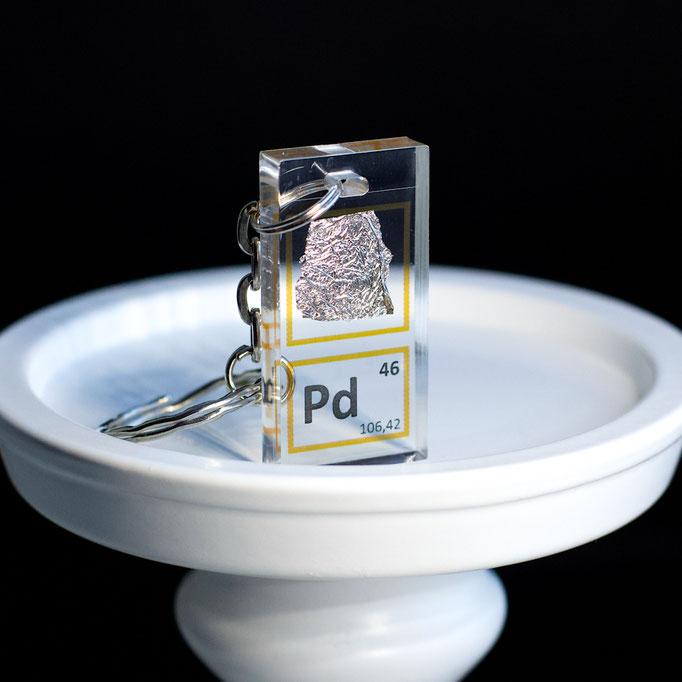palladio portachiavi, portachiavi di elementi, portachiavi con elementi, elementi della tavola periodica, elementi chimici, regali scientifici, gadget scientifici, portachiavi scientifici, portachiavi di metallo