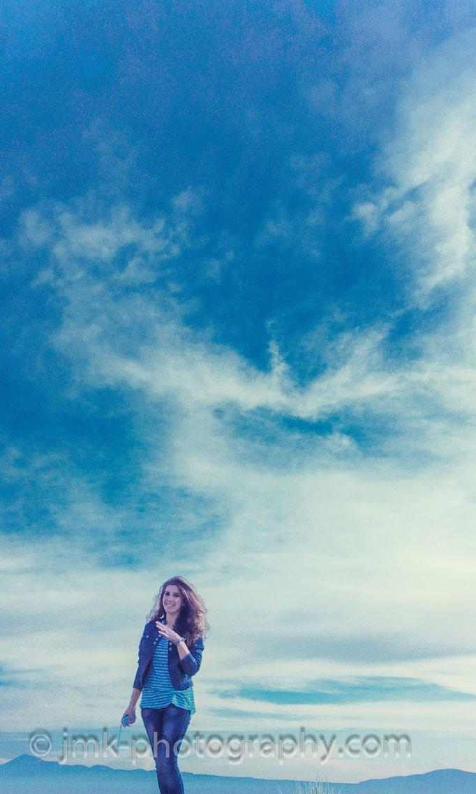 blue jeans - blue sky - blue girl