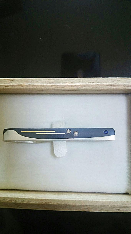 ネクタイピン 素材 黒味銅・シルバー 象嵌 純金・18金 ダイヤ・サファイア