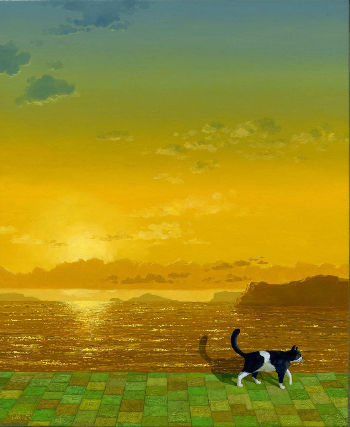 Delusion cat's daily work [sunset]    妄想猫の日課 夕 2009