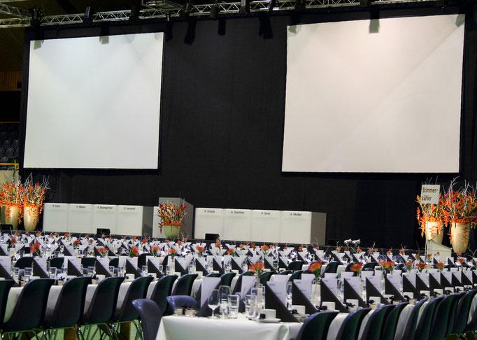 Tischdekoration Generalversammlung Alpiq AG  |  Stadthalle Olten
