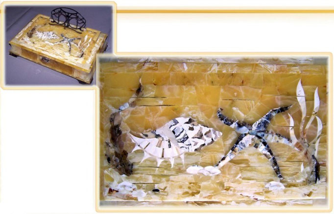 "Box for written instrument ""Marine"" -- mosaic"