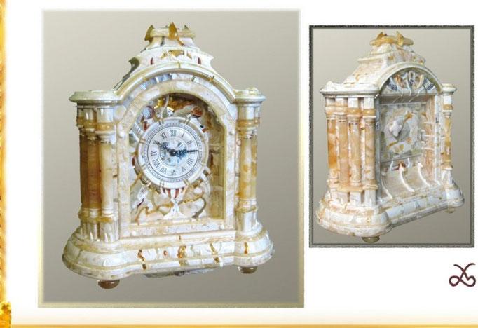 Часы в футляре из янтаря, настольные, механические 2002