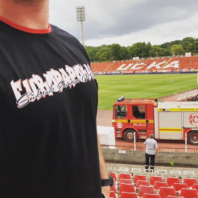 Eigens angefertigte Fanatics-Shirts zum Ausflug nach Sofia