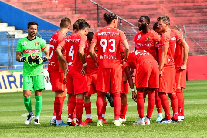 Vor dem Testspiel gegen ZSKA Moskau motivierte sich die Mannschaft