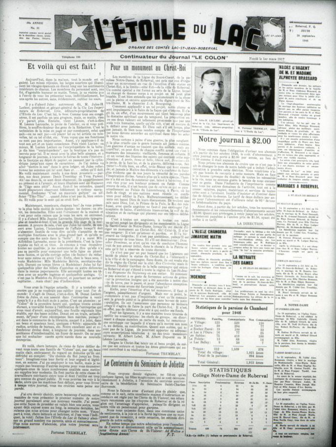 La une du 26 septembre 1946 du journal le Colon (Étoile du Lac), première édition en tant qu'Étoile du Lac