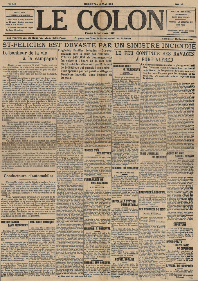La une du 5 mai 1932 du journal Le Colon (Étoile du Lac), incendie de la partie nord de Saint-Félicien.