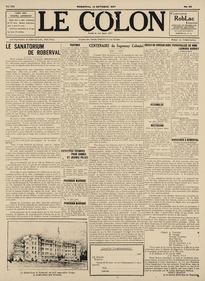 La une du 14 octobre 1937 du journal Le Colon (Étoile du Lac), annonce de la construction du Sanatorium