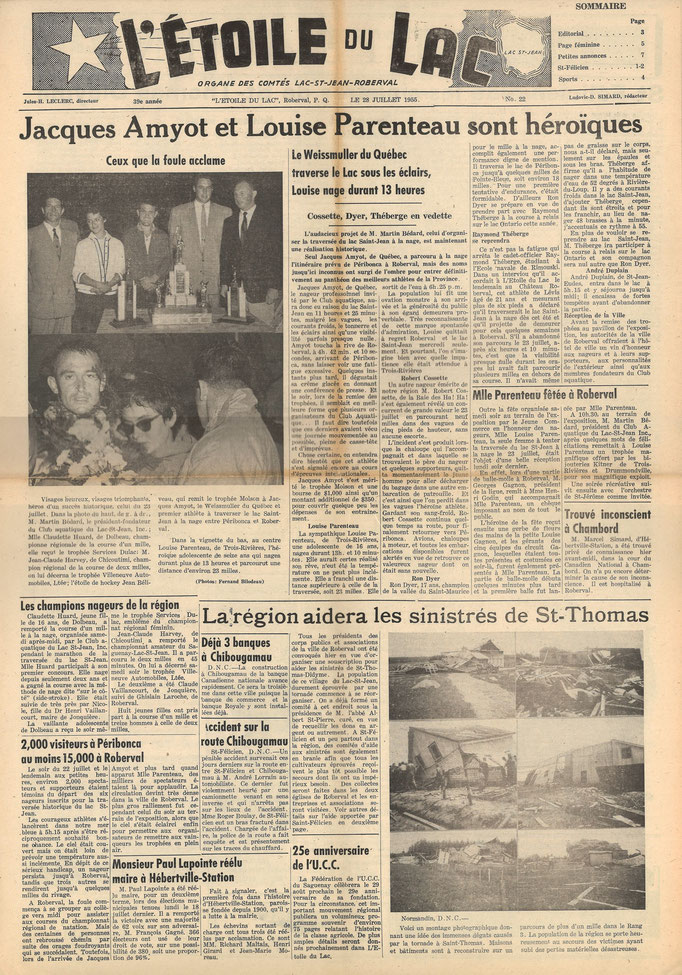 La une du 28 juillet 1955 du journal l'Étoile du Lac, première édition de la Traversée internationale du lac St-Jean.