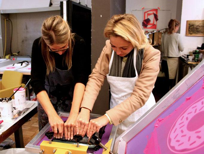Siebdruckworkshop für die Gäste von Codello