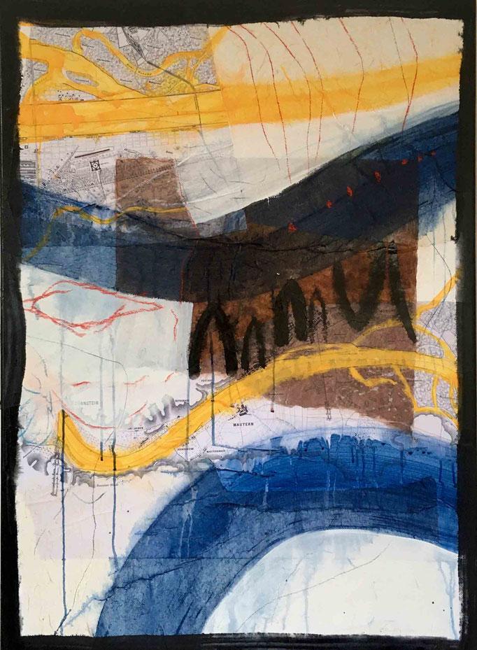 Situation:Donau, #3, 2020, Mischtechnik auf Papier auf Leinwand, 110x80 cm