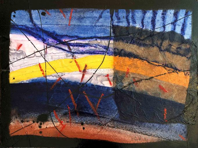 Situation:Donau II, #3, 2020, Mischtechnik mit Collage auf Dibond, 30x40 cm